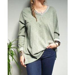 T-Shirt oversize col V argenté-Kaki