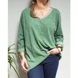 T-Shirt oversize col V argenté-Vert