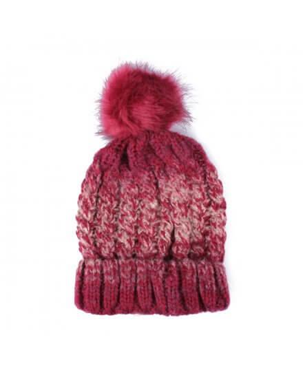 Bonnet rouge bordeaux taupe pompon Montania