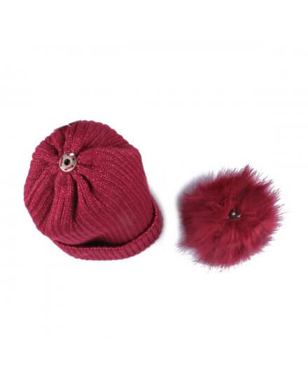 Bonnet rouge bordeaux à pompon liseré brillant fourré