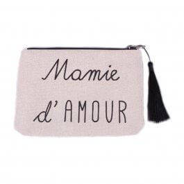 Pochette LOL beige pailletée Mamie d'amour noir et pompon