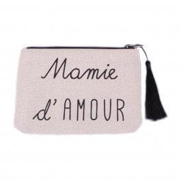 Petite pochette LOL beige pailletée Mamie d'amour et pompon-Noir