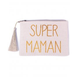 Petite pochette LOL beige pailletée Super Maman doré et pompon