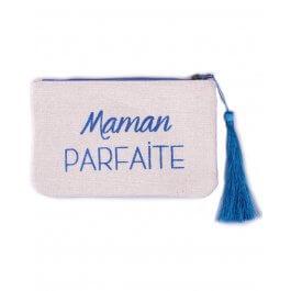 Petite pochette LOL beige pailletée Maman Parfaite bleu roi et pompon