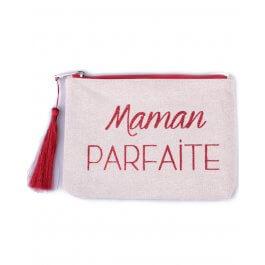 Petite pochette LOL beige pailletée Maman Parfaite rouge et pompon