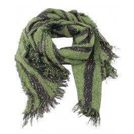 Grosse écharpe verte et noire Zebria et sequins