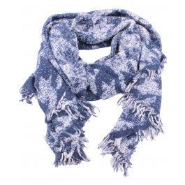 Grosse écharpe bleue et blanche motifs ethniques
