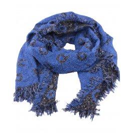 Grosse écharpe noire et bleue liserés et sequins argent Alphabio