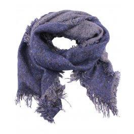 Grosse écharpe bicolore bleu et gris chiné