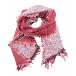 Grosse écharpe bicolore rouge et blanc chiné