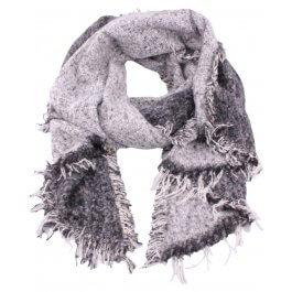 Grosse écharpe bicolore gris et blanc chiné