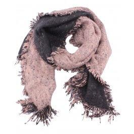 Grosse écharpe bicolore noire et taupe chiné