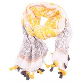 Echarpe jaune et grise à pompons Barota