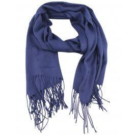 Echarpe unie à franges-Bleu