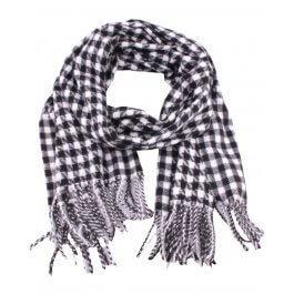 Grosse écharpe à carreaux pied de poule et franges-Noir