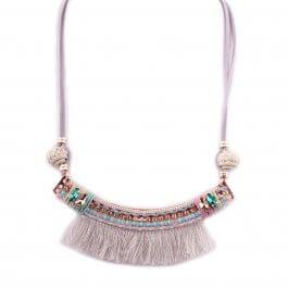 Collier Lolilota Arc perles et strass franges grises