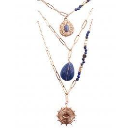 Collier multirangs acier  doré perles étoile pierre soleil-Bleu