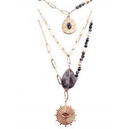 Collier multirangs acier  doré perles étoile pierre soleil-Gris