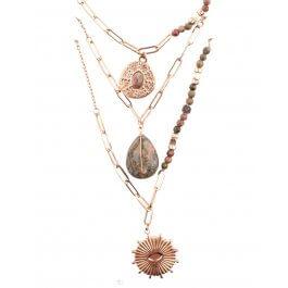 Collier multirangs acier  doré perles étoile pierre soleil-Kaki