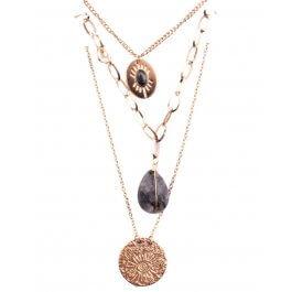 Collier multirangs acier doré médaillon pierre oeil-Noir