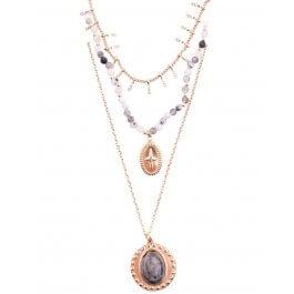 Collier multirangs acier doré guirlande croix et médaillon perle-Noir
