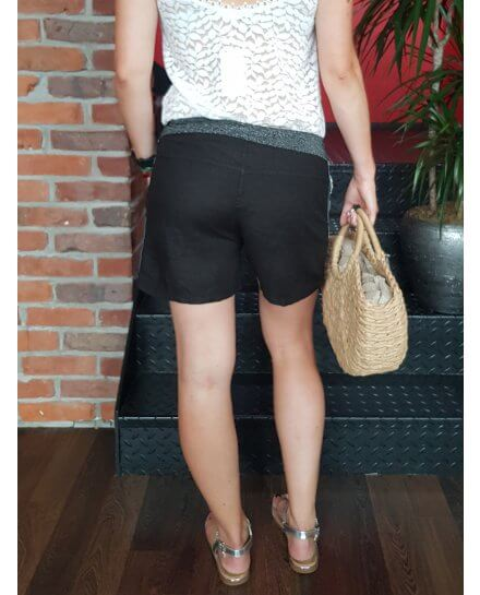 Short en lin taille élastique noir bande dentelle et strass