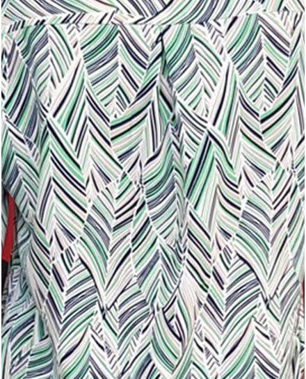 Tunique verte marine taupe motifs feuillages ethniques
