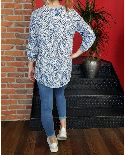 Tunique bleue blanche et marine taupe motifs feuillages ethniques