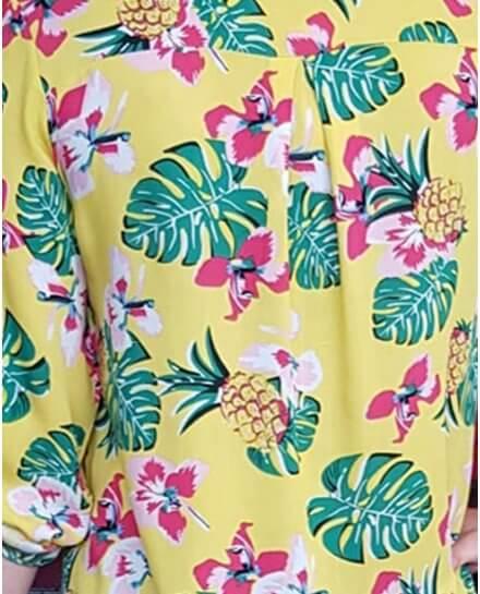 Tunique jaune motifs exotiques