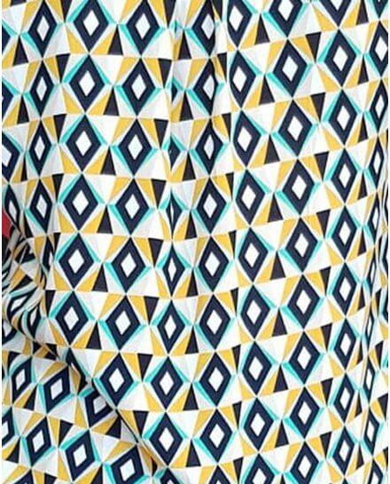 Tunique jaune marine et vert d'eau à losanges ethniques