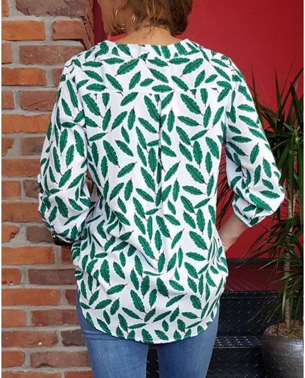 Tunique blanche plumes vertes et rouges