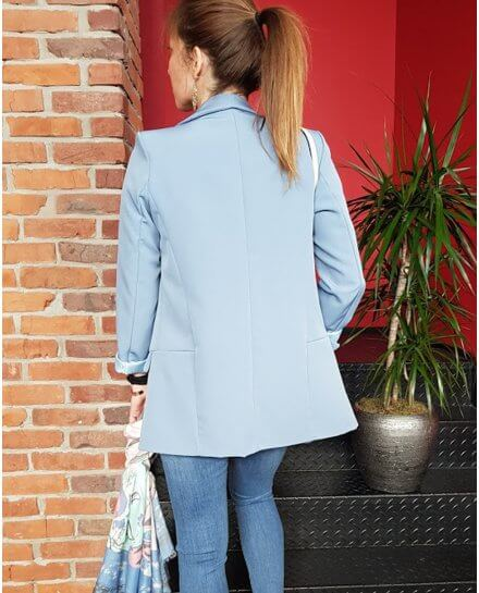 Veste tailleur unie bleu indigo