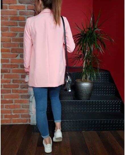 Veste tailleur longue rose pâle
