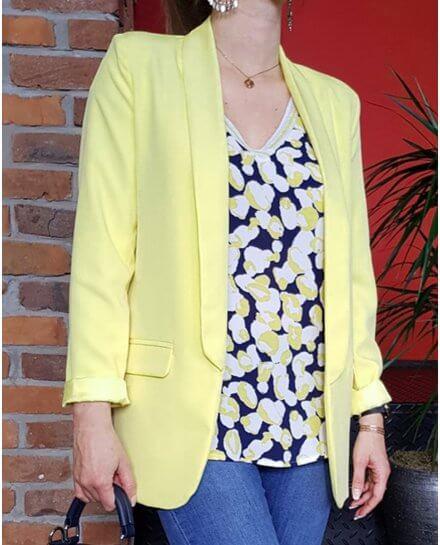 Veste tailleur longue jaune