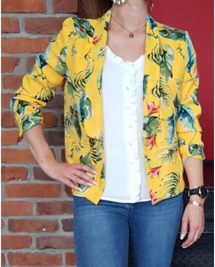 Veste tailleur légère jaune feuillage exotique vert