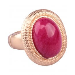 Bague LOL dorée perle ovale rose fushia
