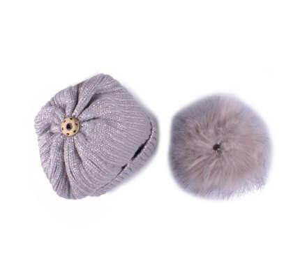 Bonnet gris à pompon liseré brillant fourré