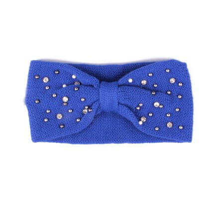 Bandeau bleu roi à perles et strass Noeud