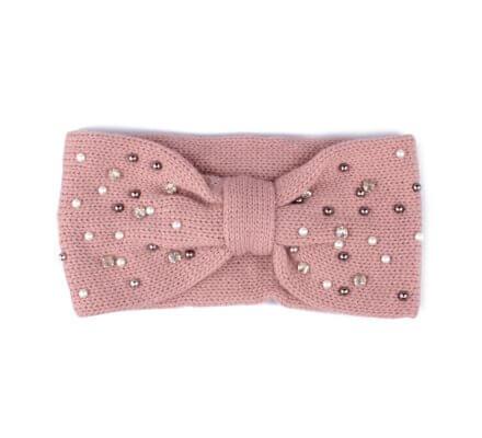 Bandeau rose à perles et strass Noeud