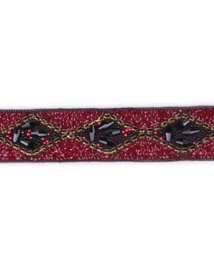 Ceinture rouge perles argent noires dorées