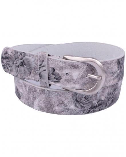 Ceinture grise fleurs imprimées argent