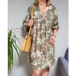 Robe fluide oversize à fleurs pastelles manches longues-Kaki