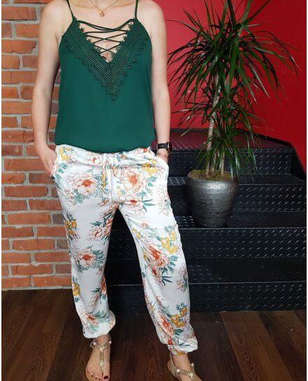 Pantalon fluide blanc fleuri jaune vert orange et blanc