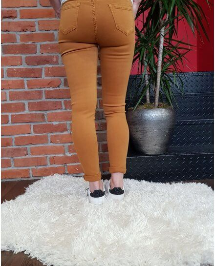 Pantalon moutarde skinny taille haute