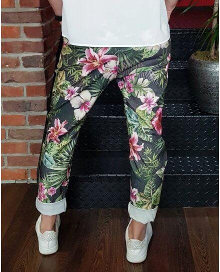Pantalon grande taille elastiqué noir fleurs multicolores