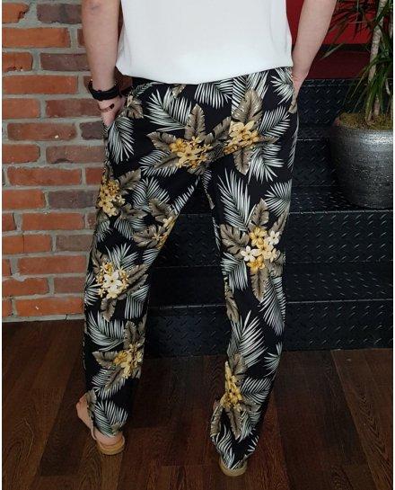 Pantalon fluide élastique noir à fleurs jaunes et feuillages taupes et blancs