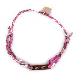 Bracelet réglable MILE MILA «Chance» acier doré tissu rose blanc marron