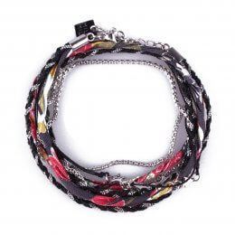 Bracelet multirangs MILE MILA tresse noire tissu multicolore étoiles acier argent