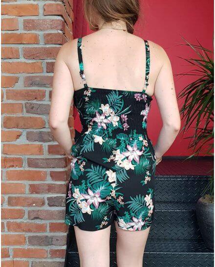Combi-short noire fleurs exotiques roses et vertes