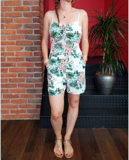 Combi-short blanche fleurs exotiques turquoises roses et vertes